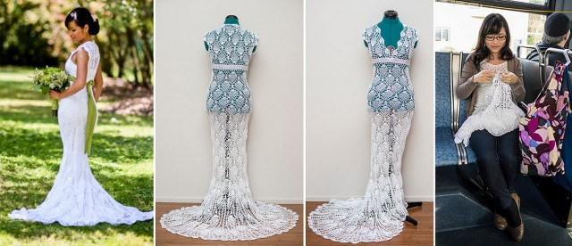 crochet handmade wedding dress